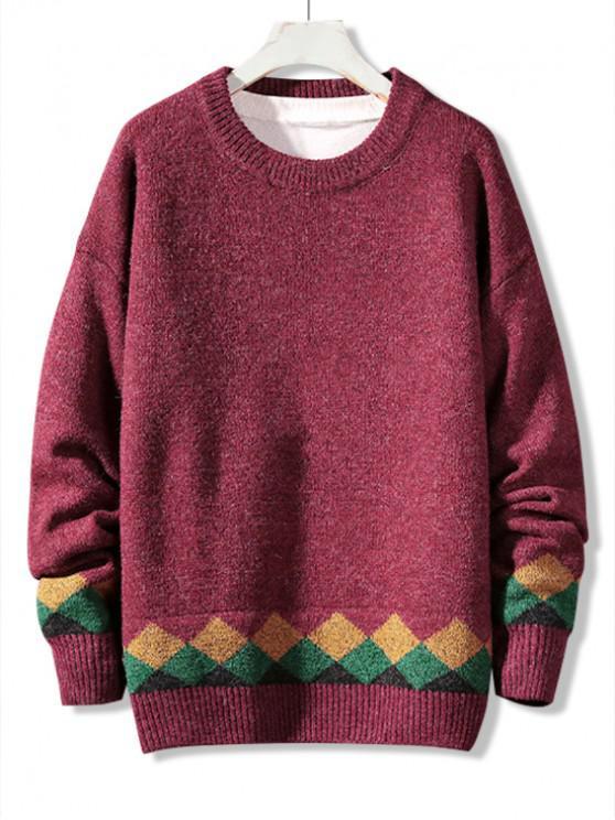 Casual Modelo geométrico del suéter del suéter - Rojo M