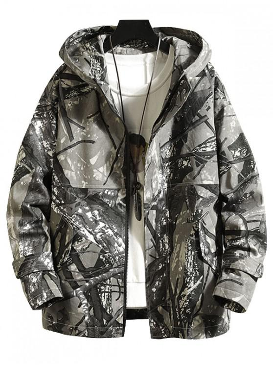 women's Camo Print Pocket Decorated Zip Up Jacket - ACU CAMOUFLAGE XL