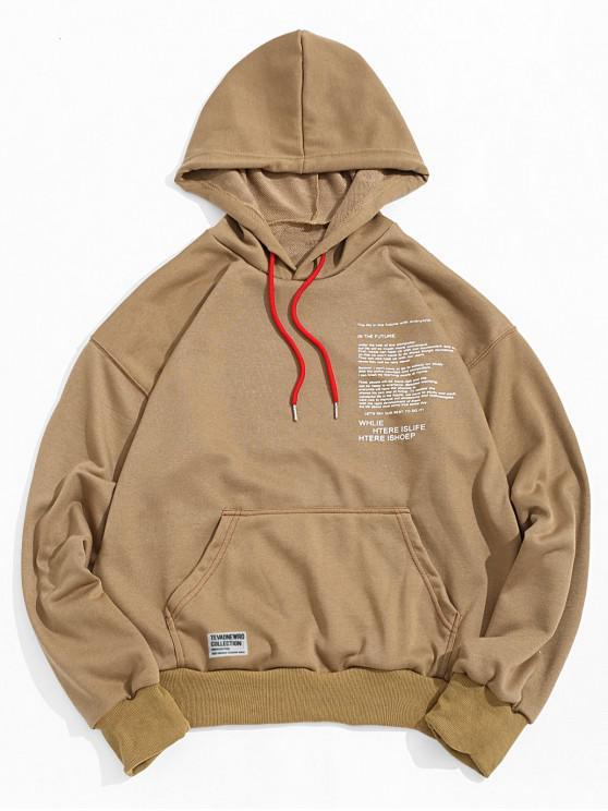 fashion Letter Texting Graphic Kangaroo Pocket Drawstring Hoodie - WOOD 2XL