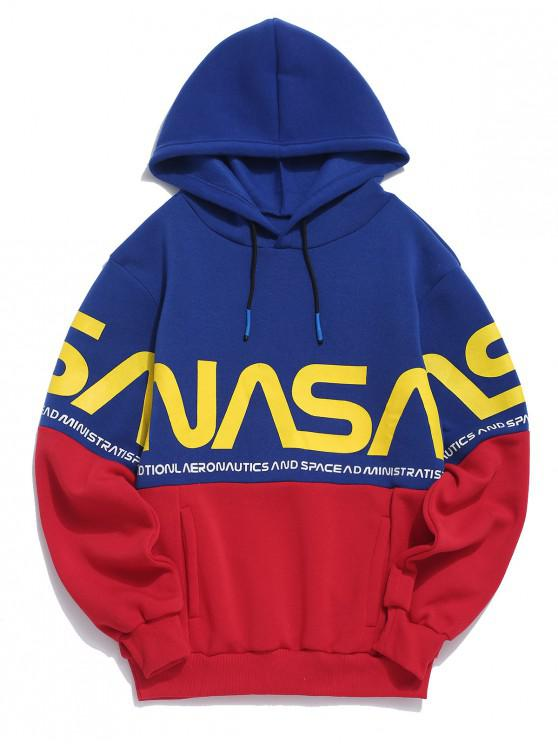 womens Letter Color-blocking Printed Hoodie - RED L