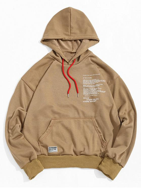 unique Letter Texting Graphic Kangaroo Pocket Drawstring Hoodie - WOOD S