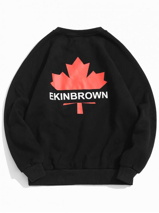 unique Maple Leaf Letter Print Raglan Sleeve Fleece Sweatshirt - BLACK 2XL