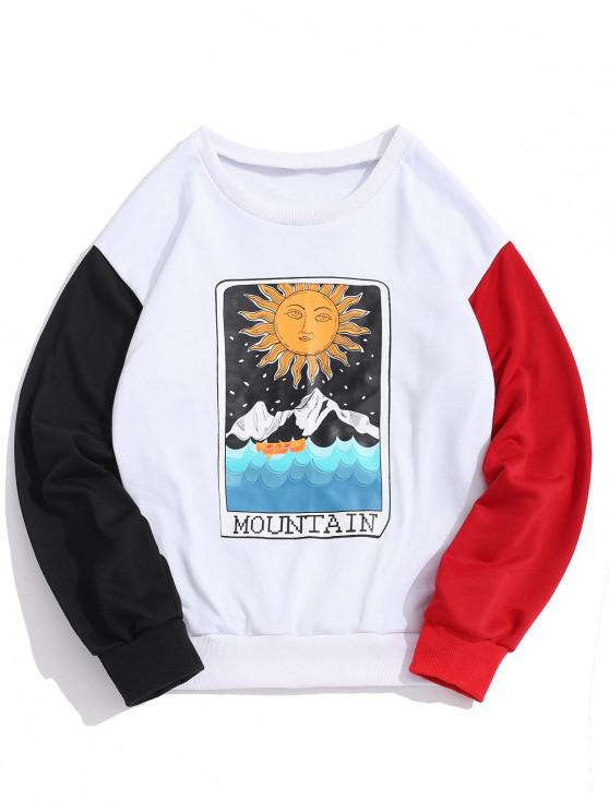 affordable ZAFUL Cartoon Sun Mountain Graphic Color Block Splicing Sweatshirt - LAVA RED L