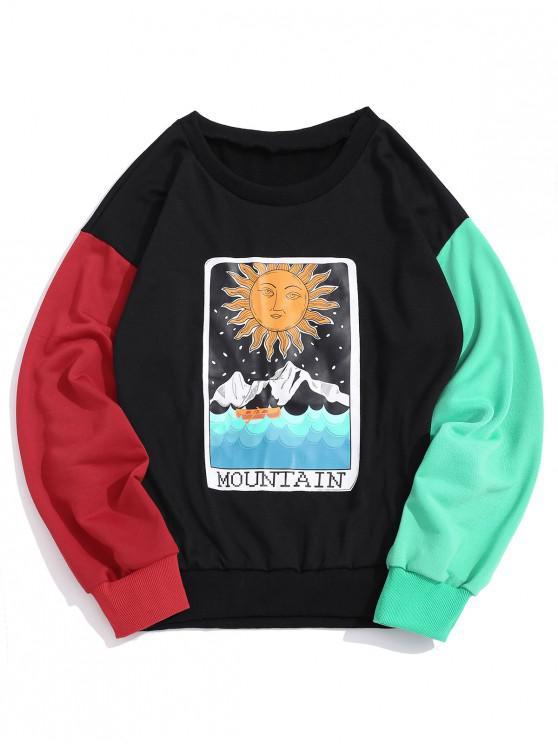 ZAFUL Sweat-shirt Lune Montagne Graphique en Blocs de Couleurs Jonitif - Noir M