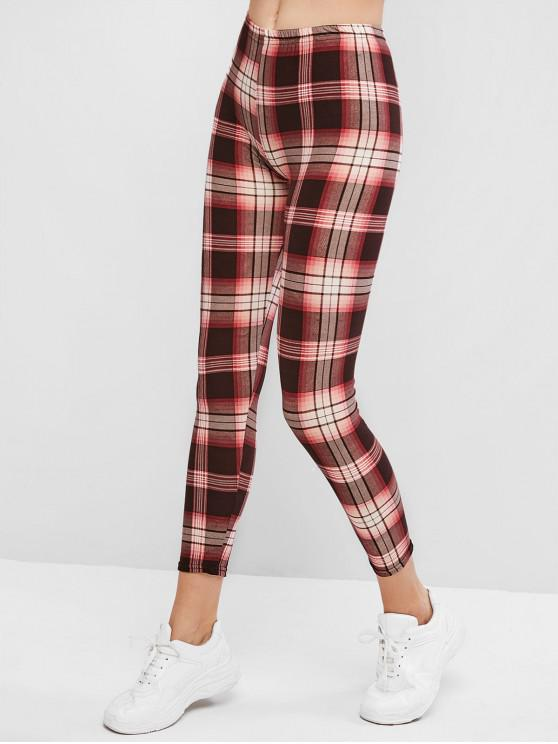 fashion High Waisted Pull On Plaid Leggings - MULTI-B ONE SIZE