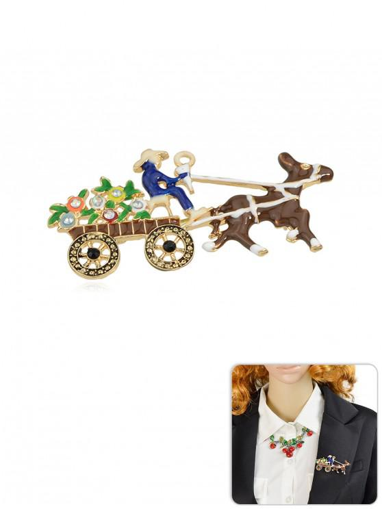outfit Christmas Carriage Rhinestone Brooch - BROWN
