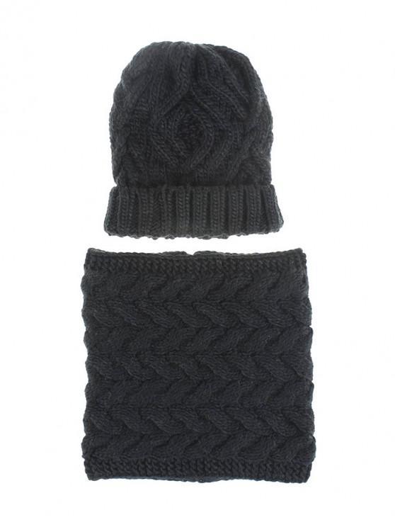 Hilados de lana de invierno bufanda de punto sombrero juego - Negro