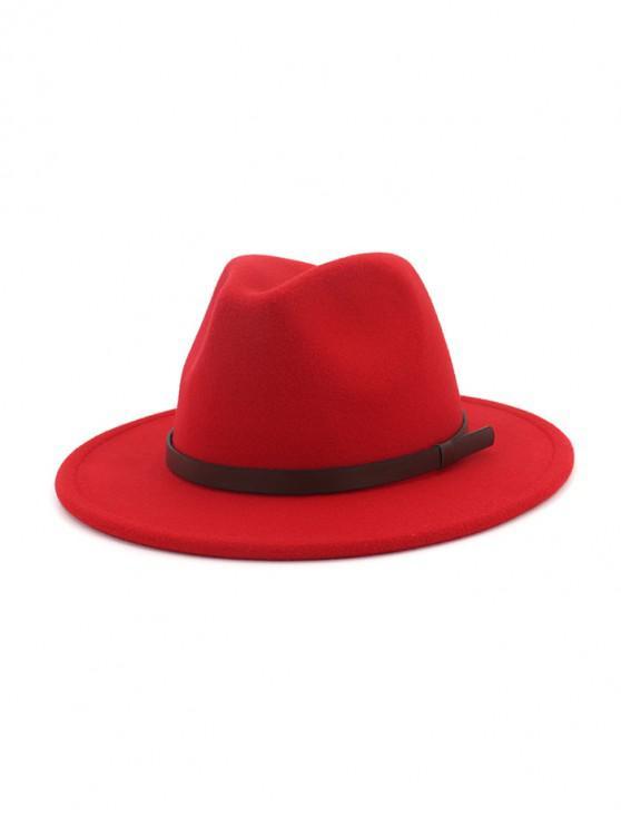 แข็งทำด้วยผ้าขนสัตว์เข็มขัดหมวกแจ๊ส - สีแดง