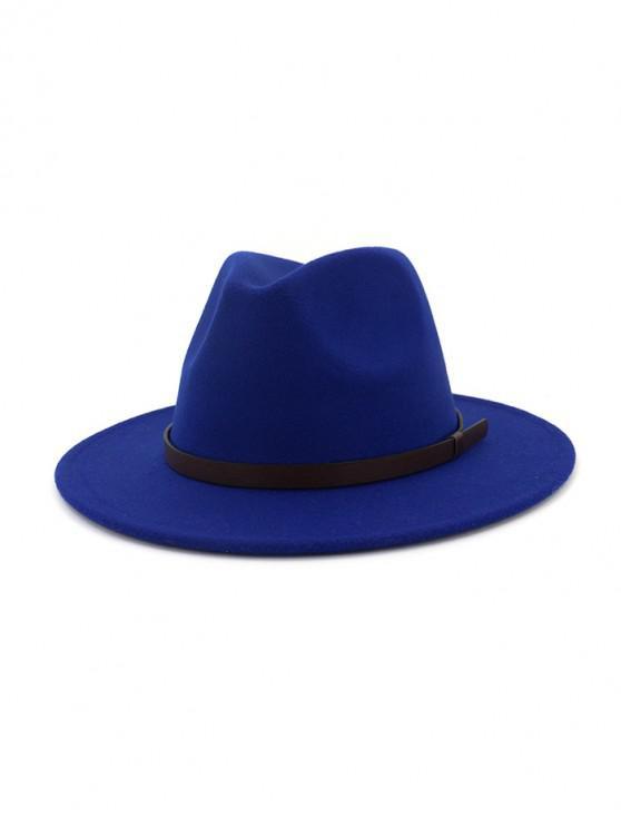แข็งทำด้วยผ้าขนสัตว์เข็มขัดหมวกแจ๊ส - สีน้ำเงิน