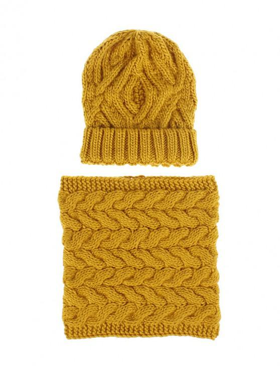 outfits Woolen Yarn Winter Knitted Scarf Hat Set - YELLOW