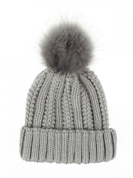 latest Fuzzy Ball Classic Winter Knitted Hat - LIGHT GRAY