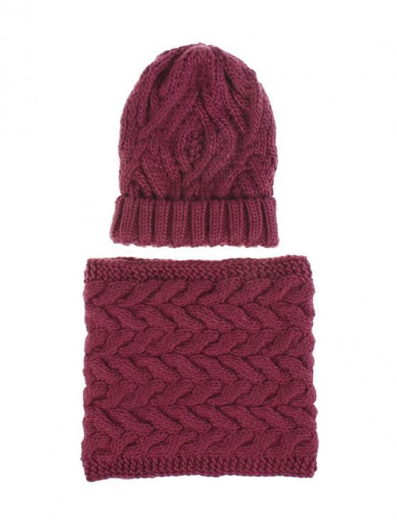 fancy Woolen Yarn Winter Knitted Scarf Hat Set - RED WINE