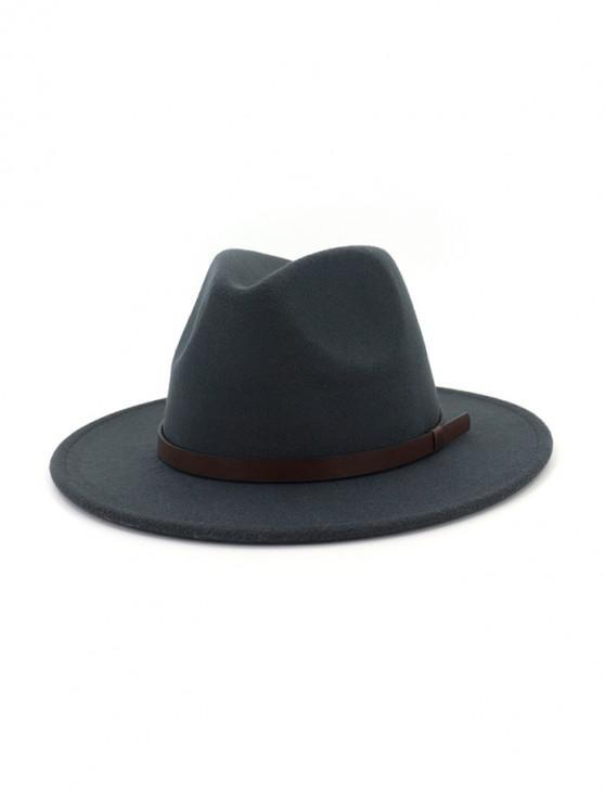 Cinturón de lana sólida Jazz Sombrero - Gris Oscuro