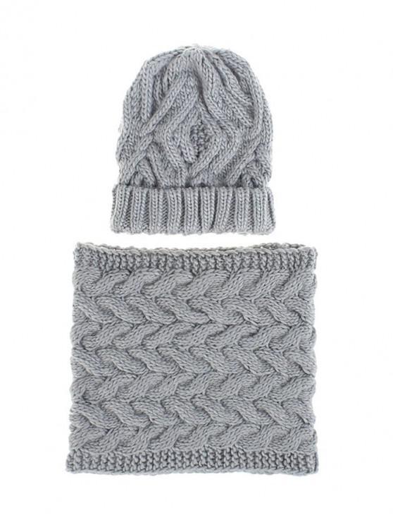 ทำด้วยผ้าขนสัตว์เส้นด้ายฤดูหนาวถักผ้าพันคอหมวกชุด - แสงสีเทา