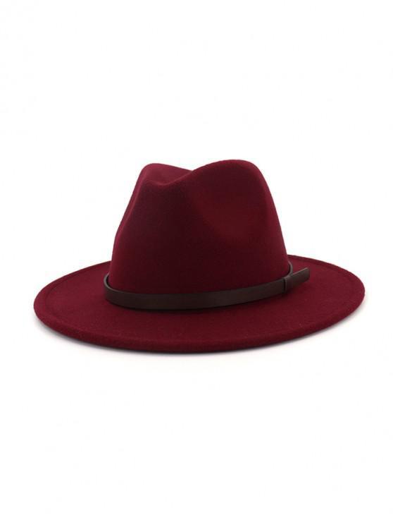 แข็งทำด้วยผ้าขนสัตว์เข็มขัดหมวกแจ๊ส - ไวน์แดง
