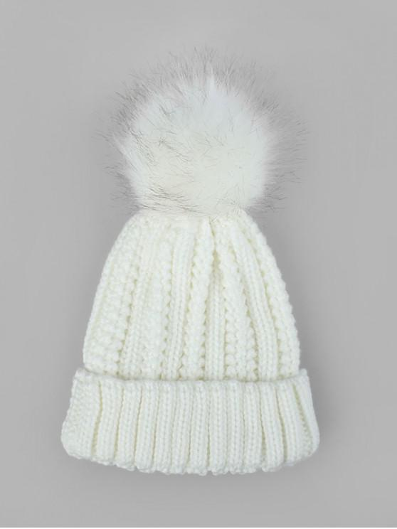 fashion Fuzzy Ball Classic Winter Knitted Hat - WHITE