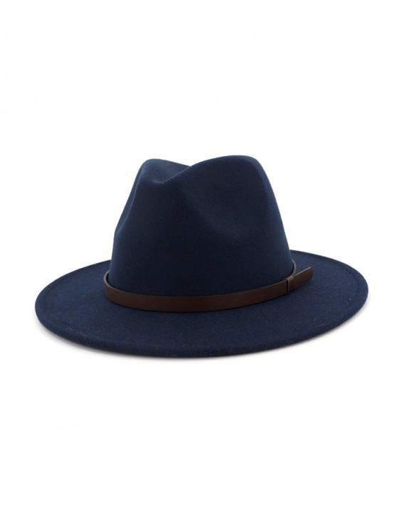 affordable Solid Woolen Belt Jazz Hat - CADETBLUE