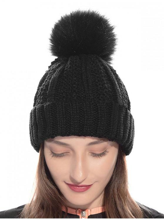 women Fuzzy Ball Classic Winter Knitted Hat - BLACK
