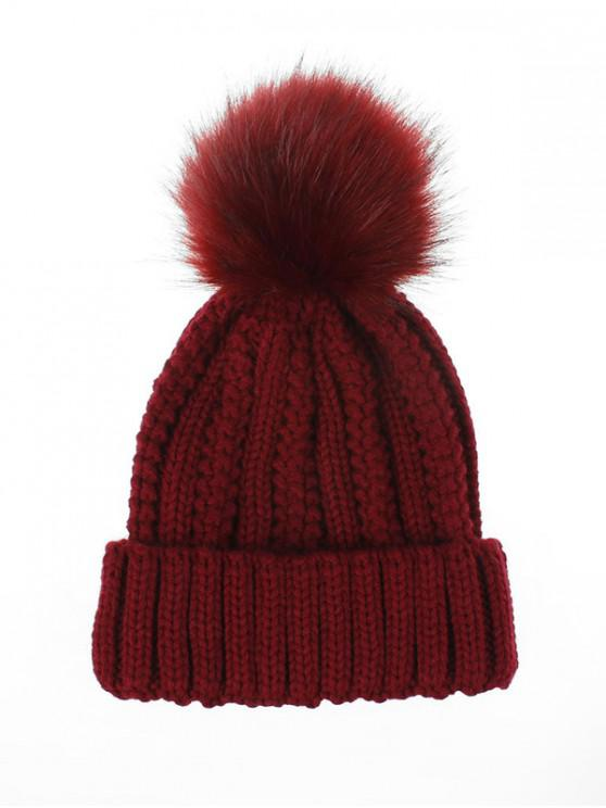 shops Fuzzy Ball Classic Winter Knitted Hat - RED WINE