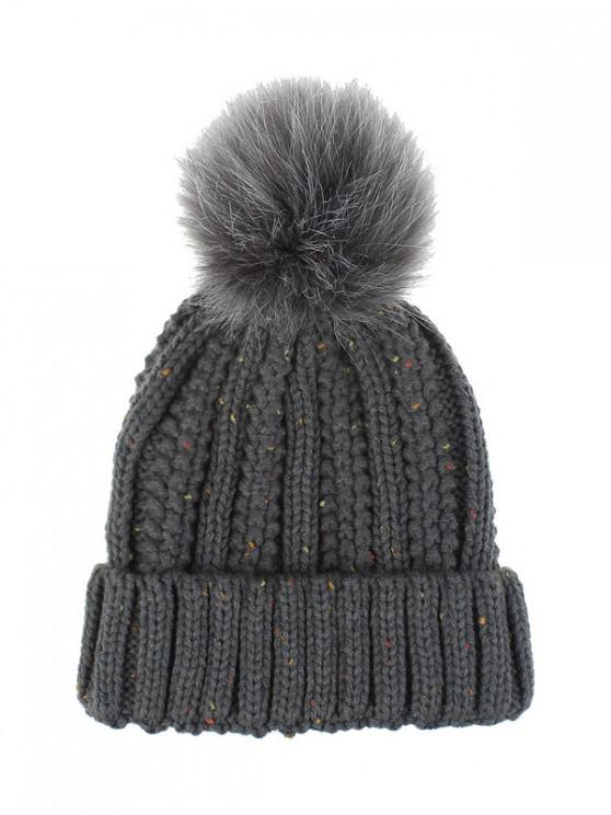 fashion Fuzzy Ball Classic Winter Knitted Hat - DARK GRAY