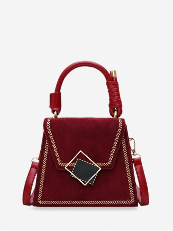 best Stylish Buckle Irregular Shoulder Bag - RED WINE
