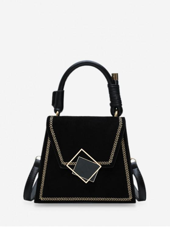 womens Stylish Buckle Irregular Shoulder Bag - BLACK