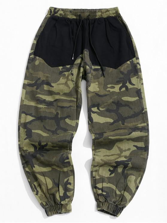 shop Camo Printed Pocket Design Jogger Pants - BLACK XS