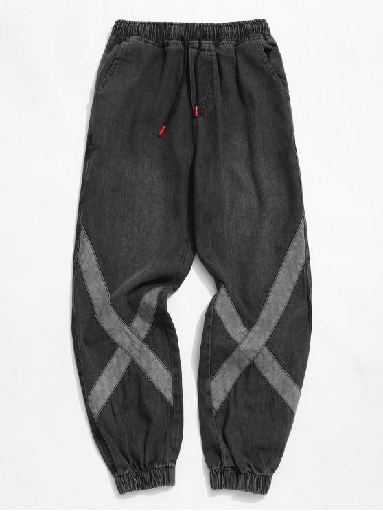 shop Distressed Cross Splicing Drawstring Jogger Jeans - DARK SLATE GREY XS