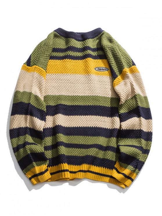fancy Multi Color Striped Drop Shoulder Pullover Sweater - GREEN L