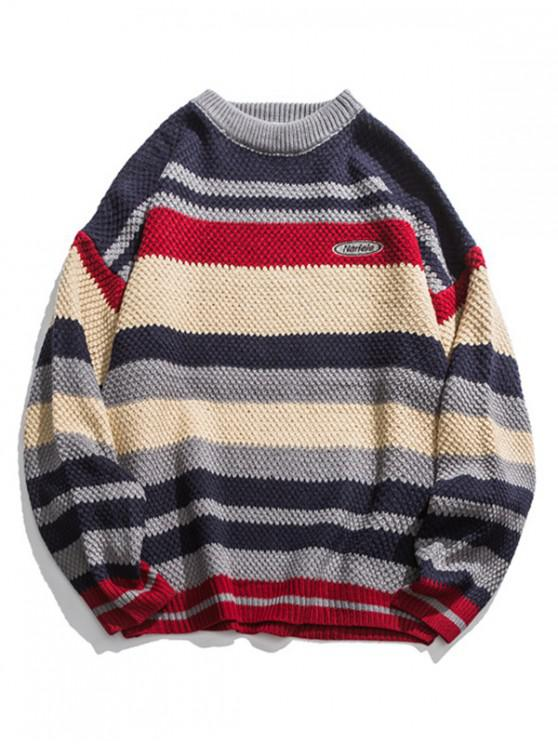 unique Multi Color Striped Drop Shoulder Pullover Sweater - BLUE XL