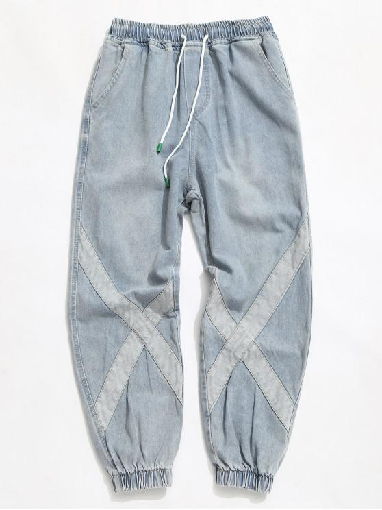 womens Distressed Cross Splicing Drawstring Jogger Jeans - BLUE KOI XL