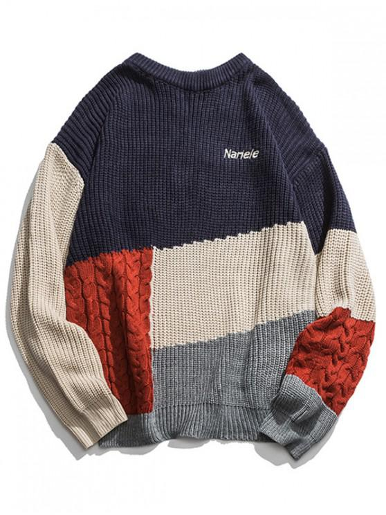 best Color-blocking Cable Knit Drop Shoulder Sweater - BLUE M