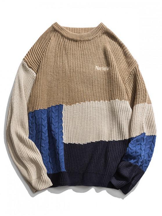 online Color-blocking Cable Knit Drop Shoulder Sweater - KHAKI M