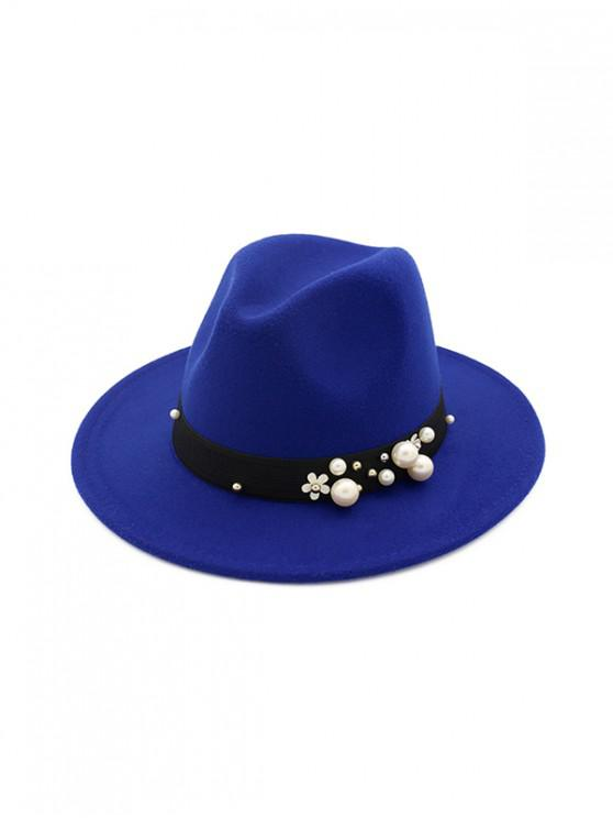 affordable Pearl Flower Fedoras Woolen Jazz Hat - BLUE