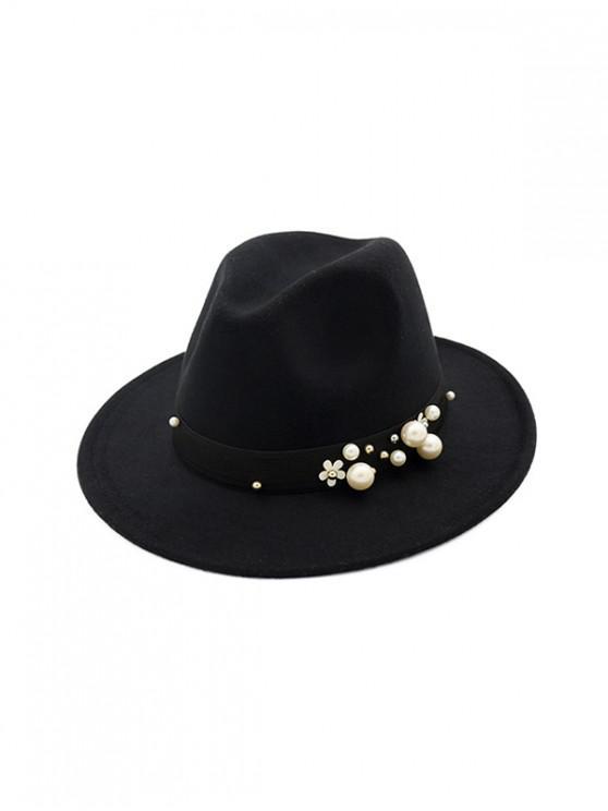 เพิร์ลดอกไม้ของ Fedora ทำด้วยผ้าขนสัตว์หมวกแจ๊ส - สีดำ