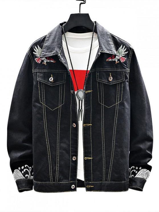 sale Animal Embroidered Pattern Denim Jacket - BLACK XS