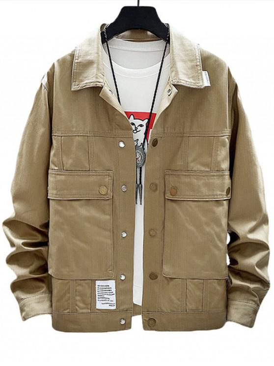 womens Solid Applique Flap Pocket Cargo Jacket - KHAKI L