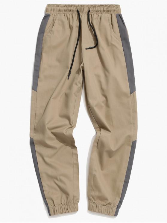 buy Contrast Trim Spliced Drawstring Casual Jogger Pants - TAN XS