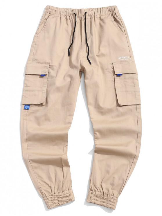 Pantalones bolsillo decorado de la letra impresa de Carga - Caqui M