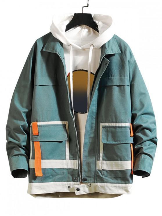 womens Pocket Design Zip Up Casual Jacket - SILK BLUE M