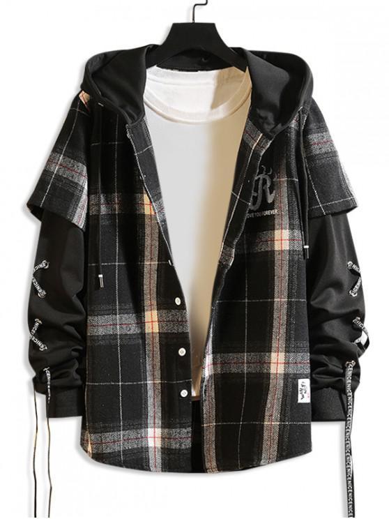 trendy Letter Plaid Pattern Hooded Jacket - BLACK 2XL