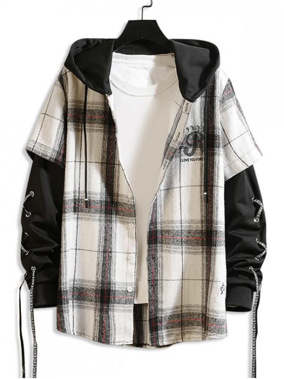 buy Letter Plaid Pattern Hooded Jacket - WHITE XL