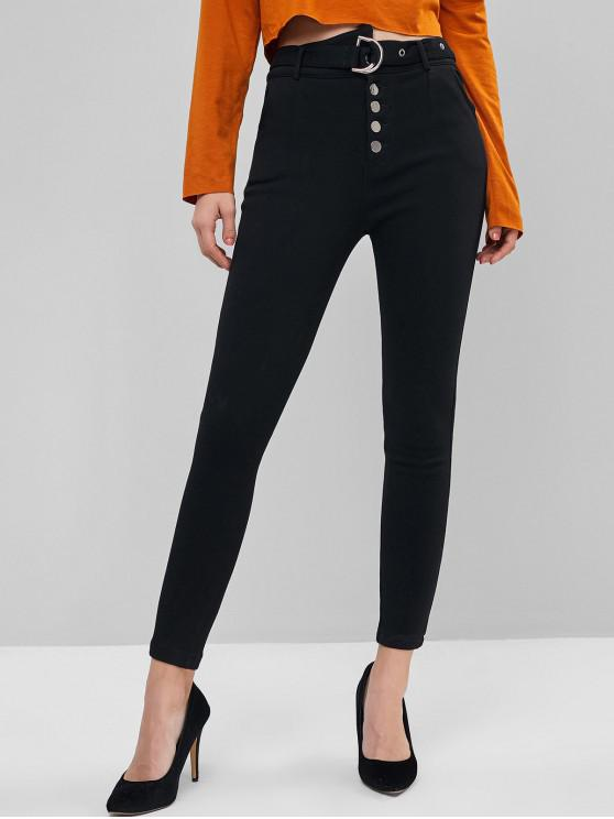 chic Button Fly Belted Solid Skinny Pants - BLACK XS