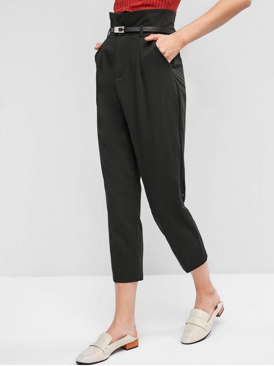 buy Straight Pockets Belted Paperbag Pants - BLACK XL