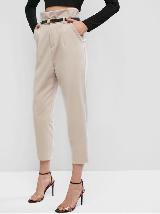 fashion Straight Pockets Belted Paperbag Pants - APRICOT XL