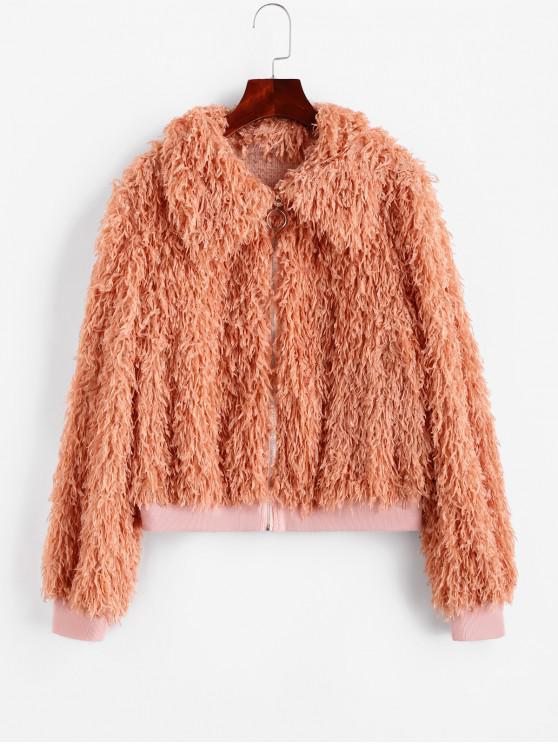 women ZAFUL Fluffy Textured Zip Front Jacket - ORANGE PINK M