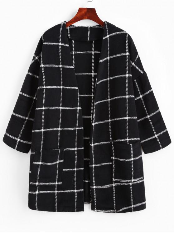 outfits ZAFUL Patched Pockets Open Front Plaid Longline Coat - BLACK M
