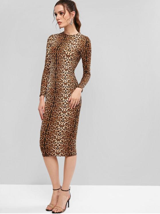 shops Long Sleeve Tiger Leopard Midi Bodycon Dress - DARK GOLDENROD S
