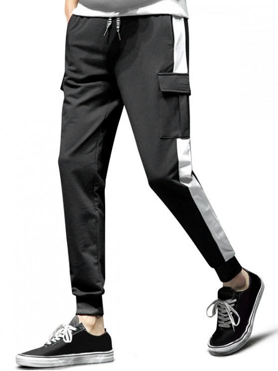 Pantalones Colorblock empalmado de la aleta del deporte del bolsillo del basculador - Negro M