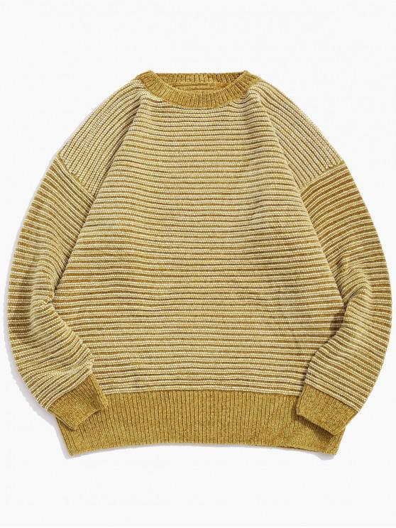 ストライプ柄のドロップショルダー袖カジュアルセーター - 黄 L